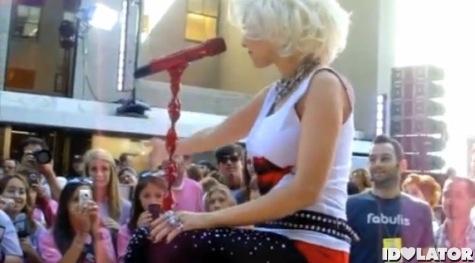 Christina Aguilera cough drop toss
