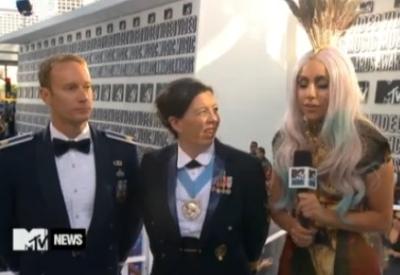 Lady Gaga MTV VMAs SLDN Don't Ask Don't Tell military gay lesbian LGBT Sway