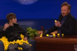 Justin Bieber Gets Pelted With Peeps On 'Conan'