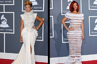 Rihanna 2011 Vs. 2010 Grammy Red Carpet