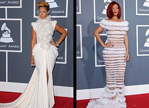 Rihanna 2011 Vs. 2010 Grammy Red Carpet
