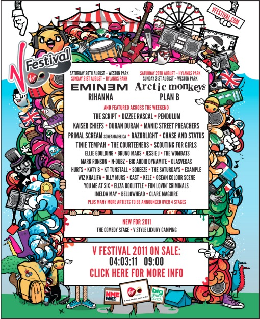 2011 V Festival lineup Eminem Rihanna Arctic Monkeys Plan B