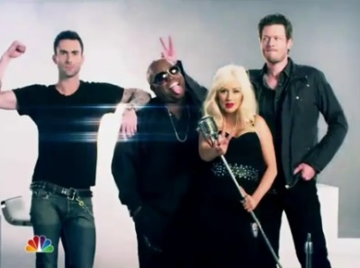 The Voice Christina Aguilera Adam Levine Cee Lo Green Blake Shelton
