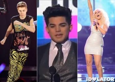 2011 American Music Awards Justin Bieber Adam Lambert Christina Aguilera