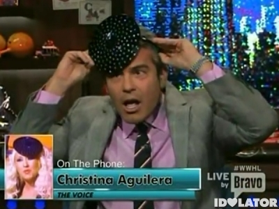 Andy Cohen Christina Aguilera The Voice Watch What Happens Live saucer hat