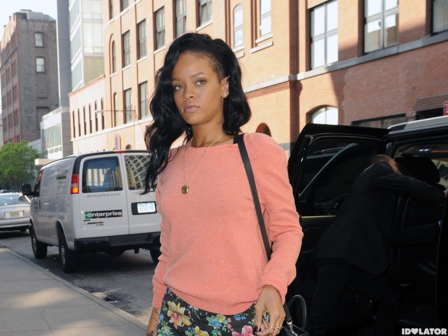 Rihanna In Short Shorts In NYC