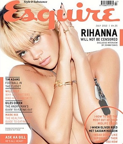 Rihanna Esquire UK topless nude naked July 2012 shirtless