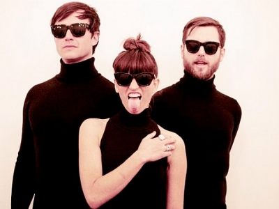 Dragonette promo shot black shirts sunglasses
