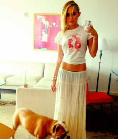 Miley Cyrus Tweets A Photo Of Herself In A See-Through Skirt: Morning Mix