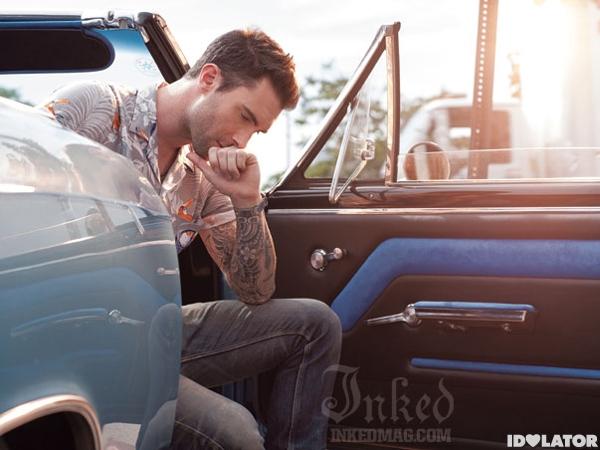 Adam Levine Shows Off His Tattoos