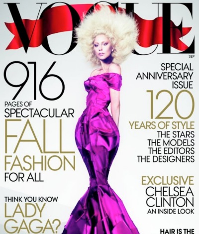 Lady Gaga Vogue September 2012 cover purple dress 1