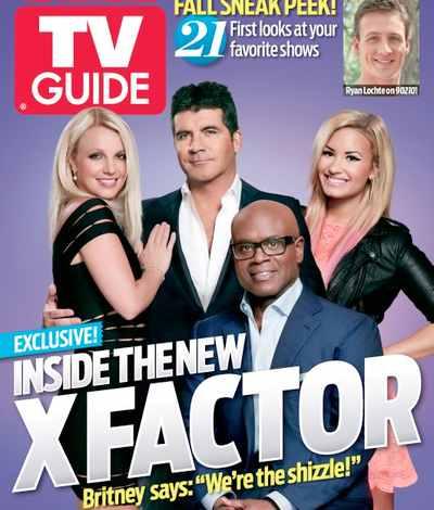 Britney Spears The X Factor TV Guide cover 2012 Demi Lovato Simon Cowell L.A. Reid