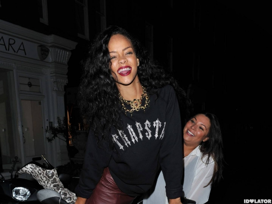 Rihanna Rides Thigh-High In London