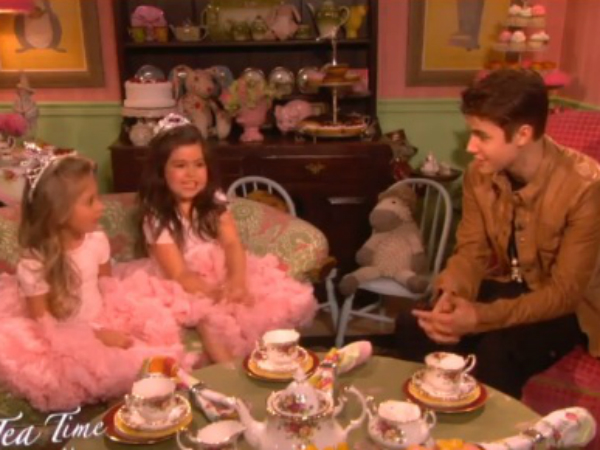 watch justin bieber have tea with sophia grace amp rosie on