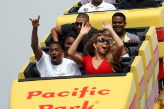 Mariah Carey & Nick Cannon Ride The Roller Coaster For Family Day