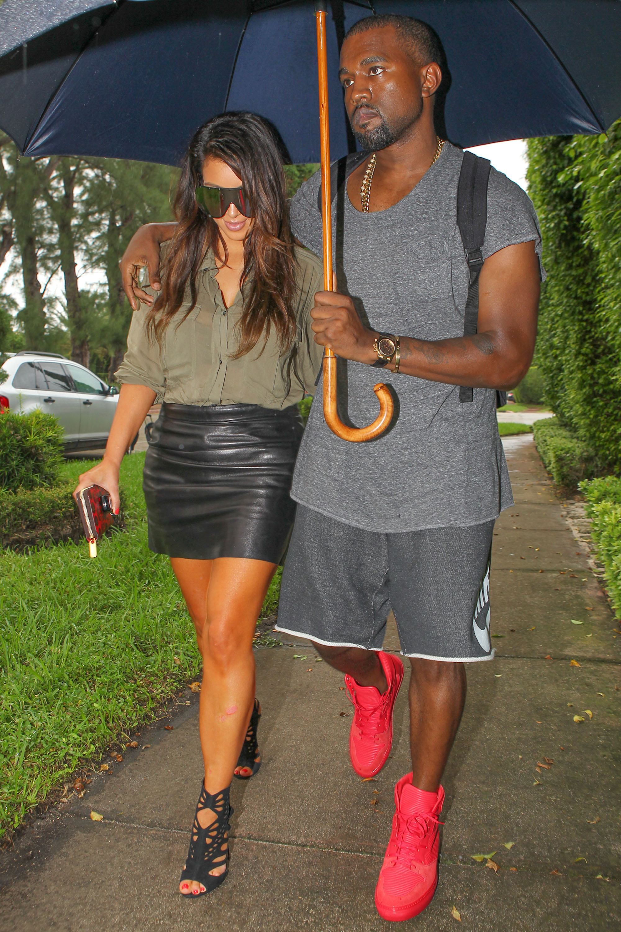 Kimye Stay Dry In Miami