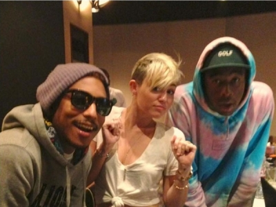 Miley Cyrus, Tyler The Creator & Pharrell In The Studio