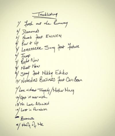 Rihanna 'Unapologetic' Handwritten Tracklist