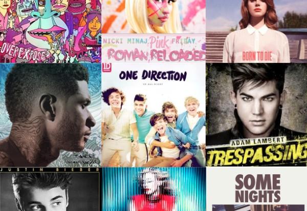 2012 Maroon 5 Nicki MInaj Lana Del Rey album Usher One Direction Adam Lambert Madonna Justin Bieber fun