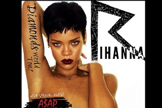 Rihanna Is Still Topless On Diamonds Tour Poster, A$AP Rocky Located On Her Right Breast