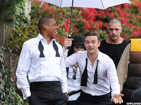 Justin Timberlake and Jay-Z on the set of their music video