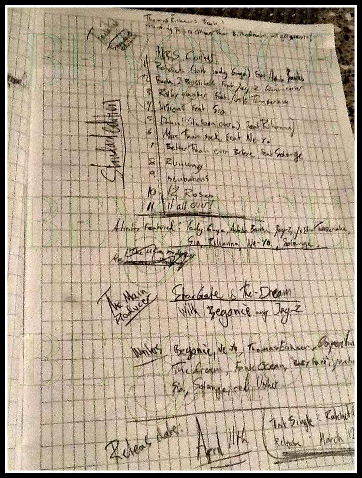 Beyonce Mrs Carter Tracklist Leaked Instagram