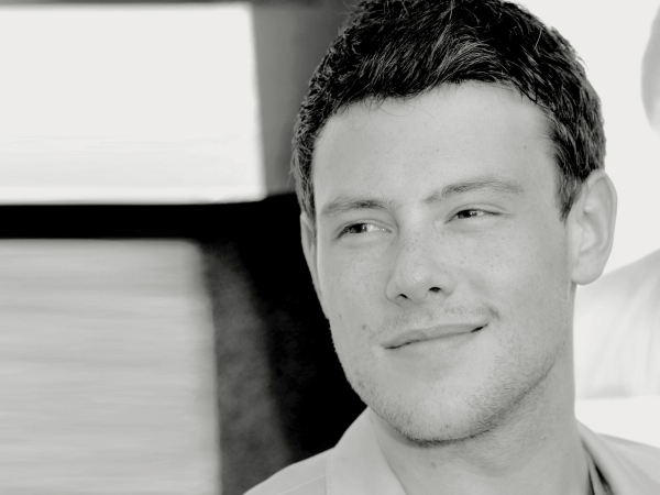corey monteith glee promo photo black white