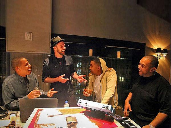 Jay-Z Justin Timberlake Timbaland Nas in Recording Studio