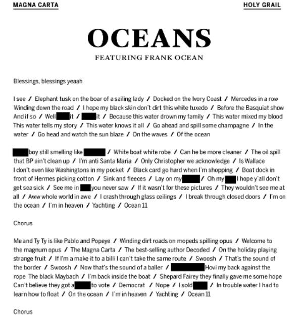 JAY Z Frank Ocean Oceans Lyrics