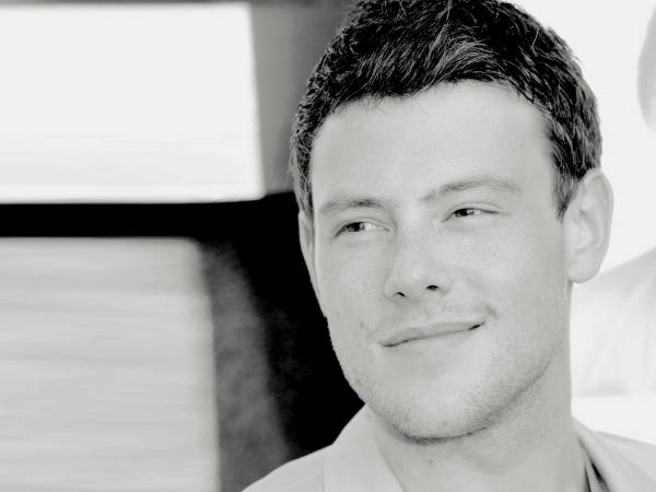cory monteith glee black and white headshot