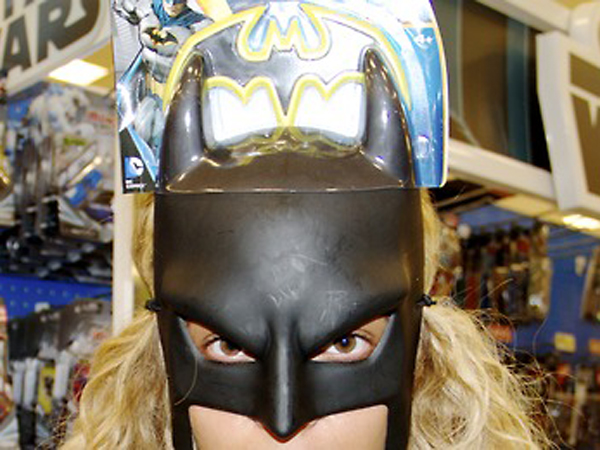Beyonce in a Batman mask