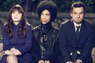Here's Prince With Zooey Deschanel In A Still From 'New Girl'