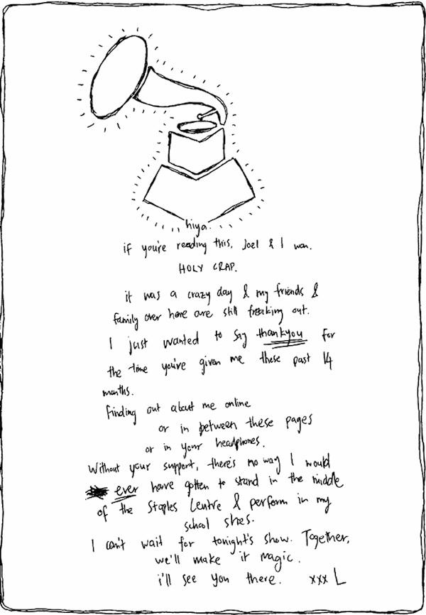 lorde grammy letter fans
