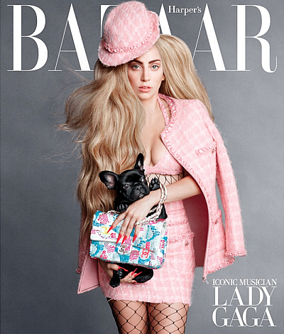 Lady Gaga Harpers Bazaar September 2014 cover issue Asia dog