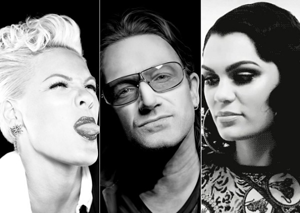 Pink U2 Bono Jessie J black and white