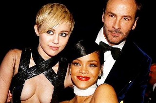 Rihanna Rocked Pasties And A Tom Ford Gown, While Miley Cyrus Opted For A Sheer Top At The AmfAR Gala