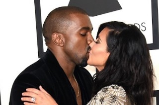 Grammys 2015: Kim Kardashian Sparkles On The Red Carpet, Gets Booty Grabbed By Kanye West