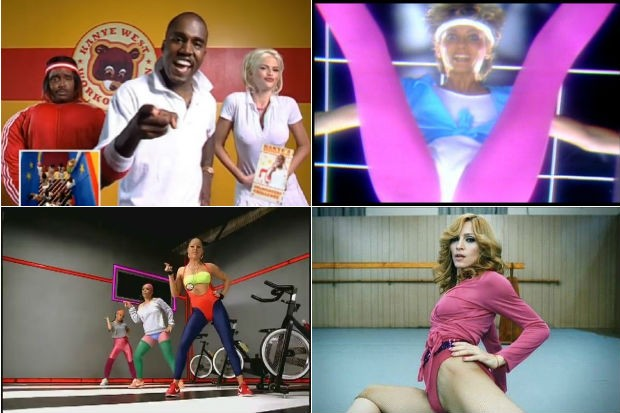 kanye-west-olivia-newton-john-fergie-madonna-workout-videos