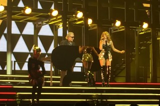 "Kylie Minogue And Giorgio Moroder Perform ""Right Here, Right Now"" In Perth, Australia"