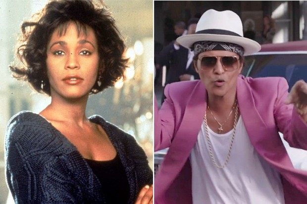 Whitney Houston I Will Always Love You The Bodyguard Bruno Mars Uptown Funk Mark Ronson chart weeks