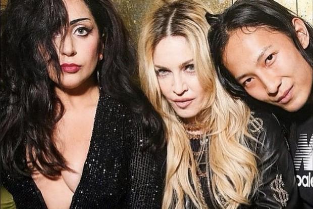 Lady Gaga Madonna Alexander Wang 2015 Met Gala friends pretty boobs dress