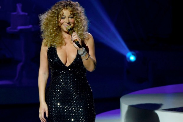 Mariah Carey Caesars Palace Las Vegas Infinity opening night dress boobs curly hair