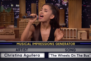 Ariana Grande Does Killer Impersonations Of Christina Aguilera, Britney Spears & Celine Dion On 'Fallon': Watch