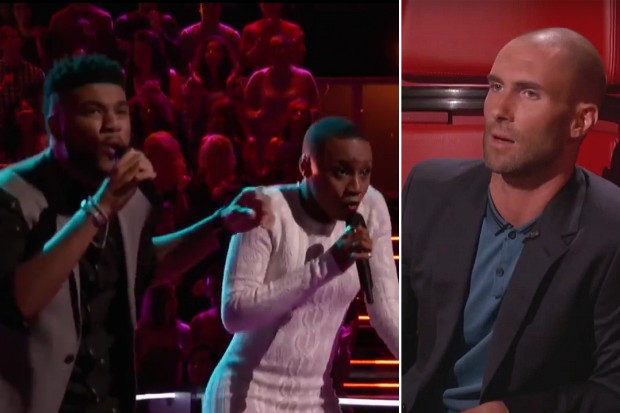 The Voice Adam Levine bald shaved head Celeste Betton Mark Hood Aint No Mountain High Enough