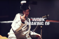 "Rihanna Goofs Off In The Studio While Recording ""Work"": Watch A Behind-The-Scenes Clip"