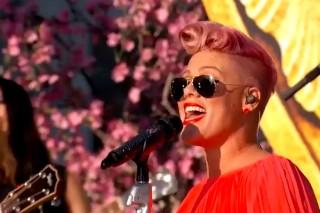 "Pink Gloriously Belts ""Just Like Fire"" On 'Jimmy Kimmel Live': Watch"