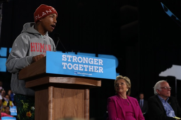 pharrell-williams-hillary-clinton-bernie-sanders-2016-north-carolina-2016