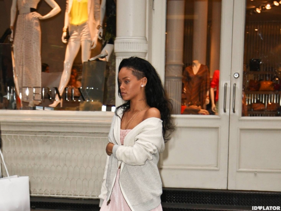 Rihanna Covers Up Her See-Through Top